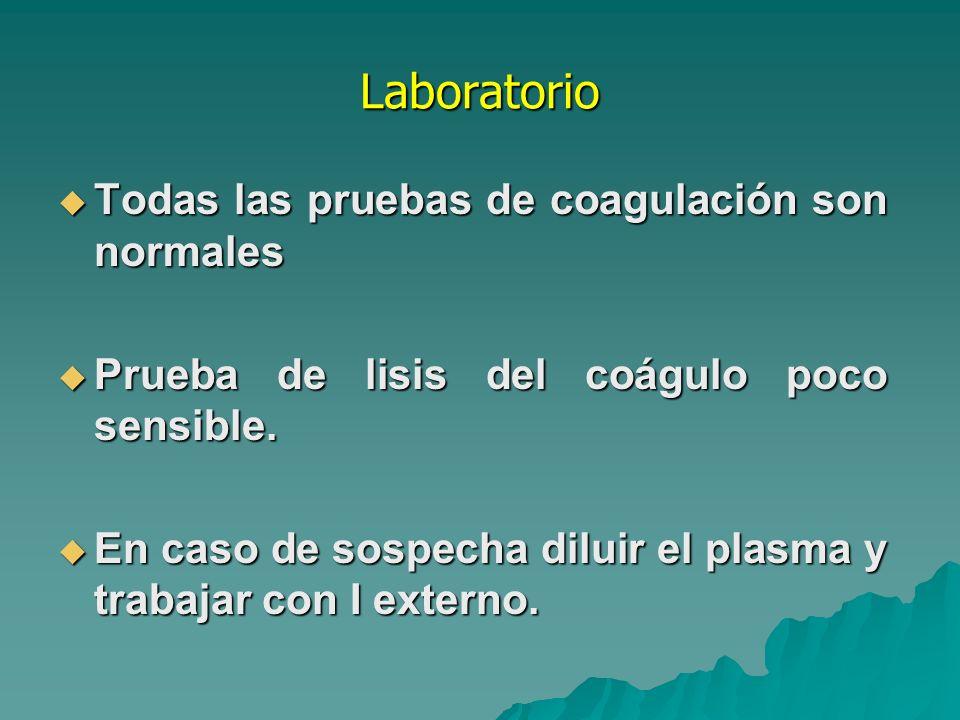 Laboratorio Todas las pruebas de coagulación son normales