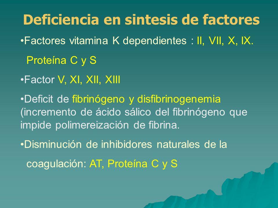 Factores vitamina K dependientes : II, VII, X, IX. Proteína C y S