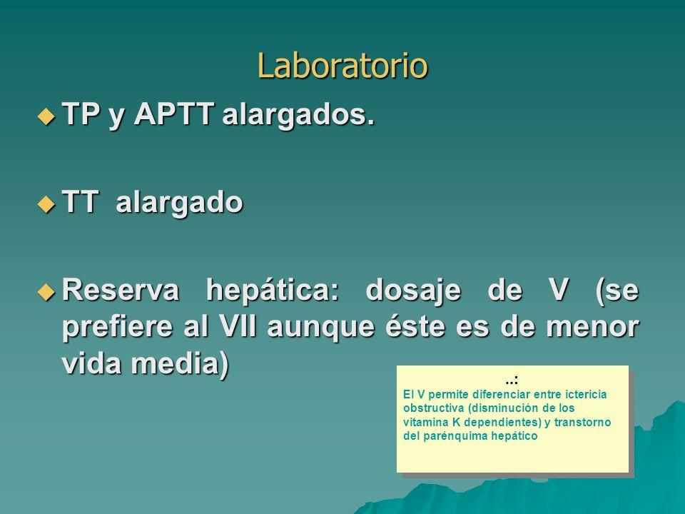 Laboratorio TP y APTT alargados. TT alargado