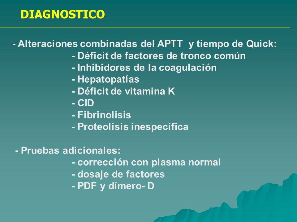 DIAGNOSTICO - Alteraciones combinadas del APTT y tiempo de Quick: