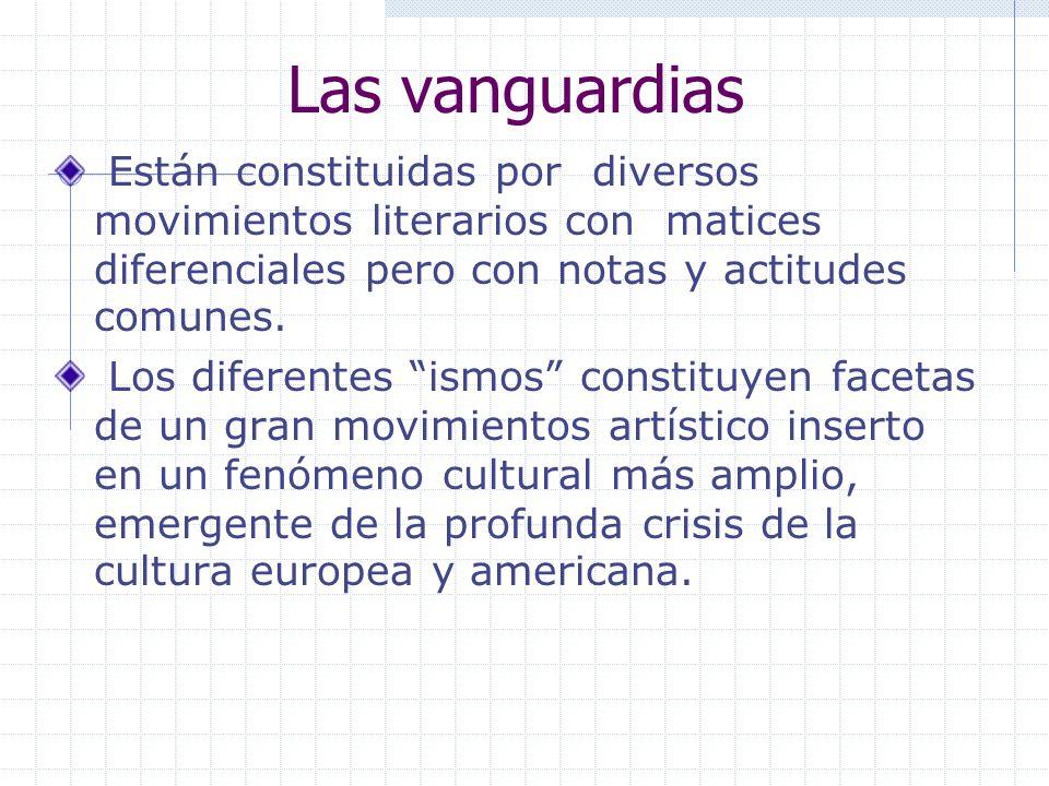 Las vanguardias Están constituidas por diversos movimientos literarios con matices diferenciales pero con notas y actitudes comunes.