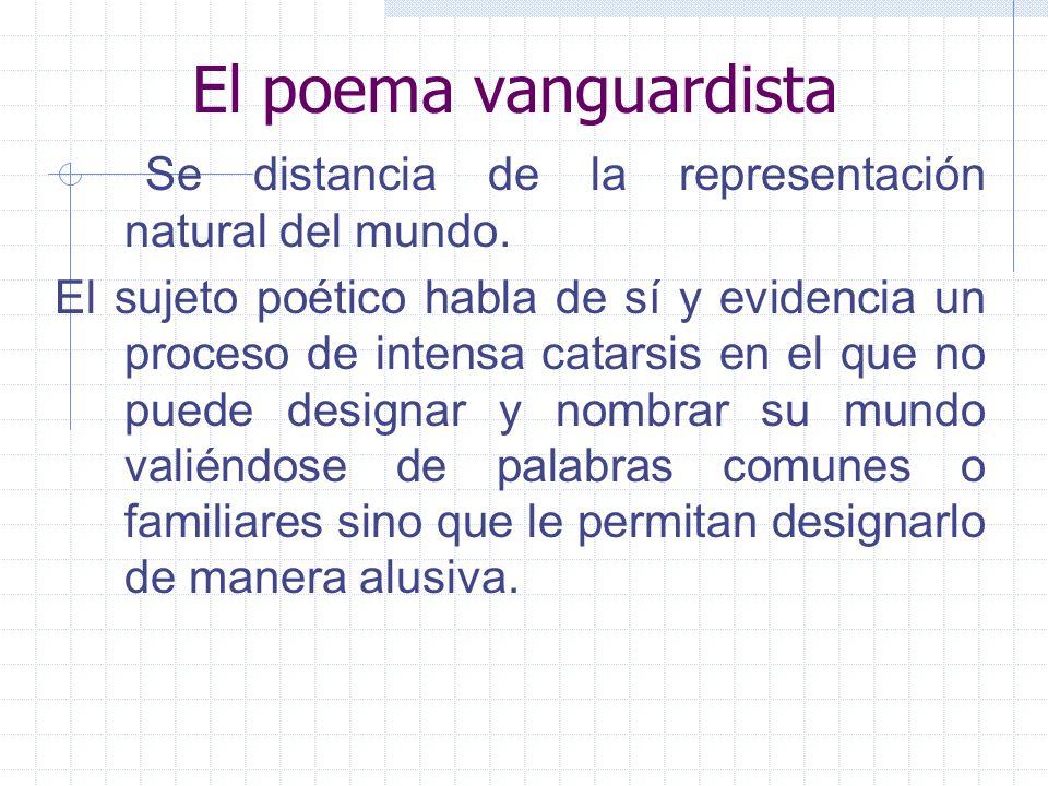 El poema vanguardista Se distancia de la representación natural del mundo.