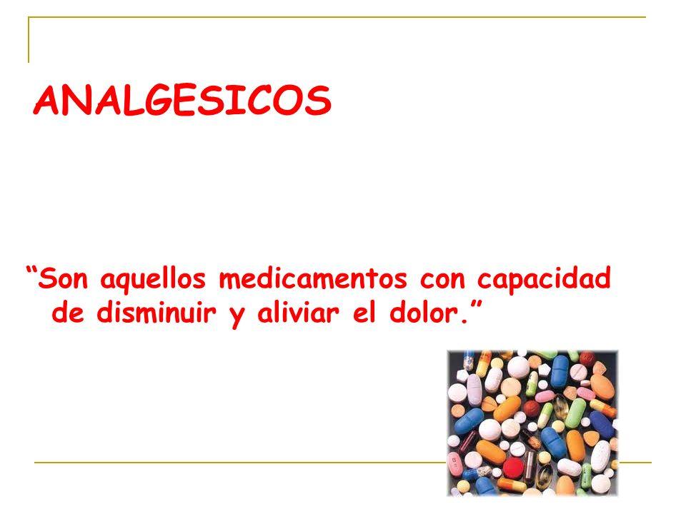 ANALGESICOS Son aquellos medicamentos con capacidad de disminuir y aliviar el dolor.