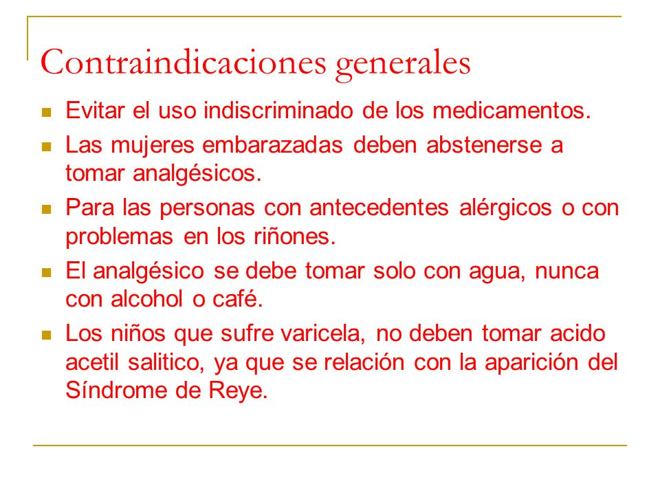 Contraindicaciones generales