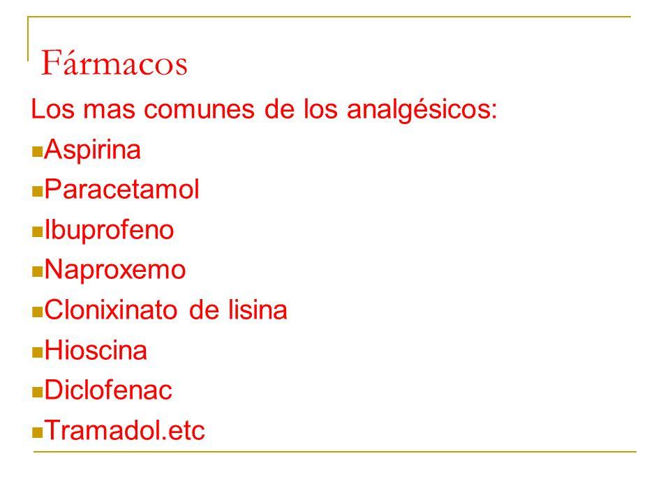 Fármacos Los mas comunes de los analgésicos: Aspirina Paracetamol