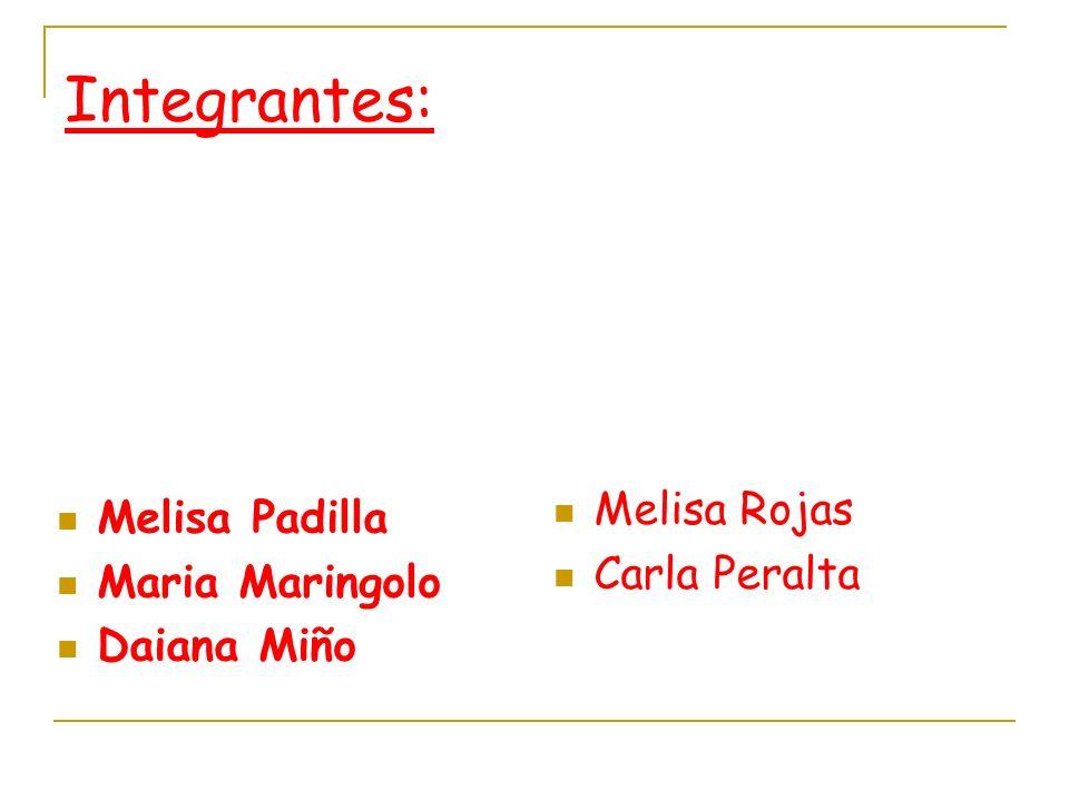 Integrantes: Melisa Rojas Melisa Padilla Carla Peralta Maria Maringolo