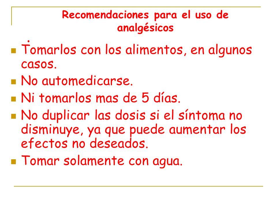 Recomendaciones para el uso de analgésicos