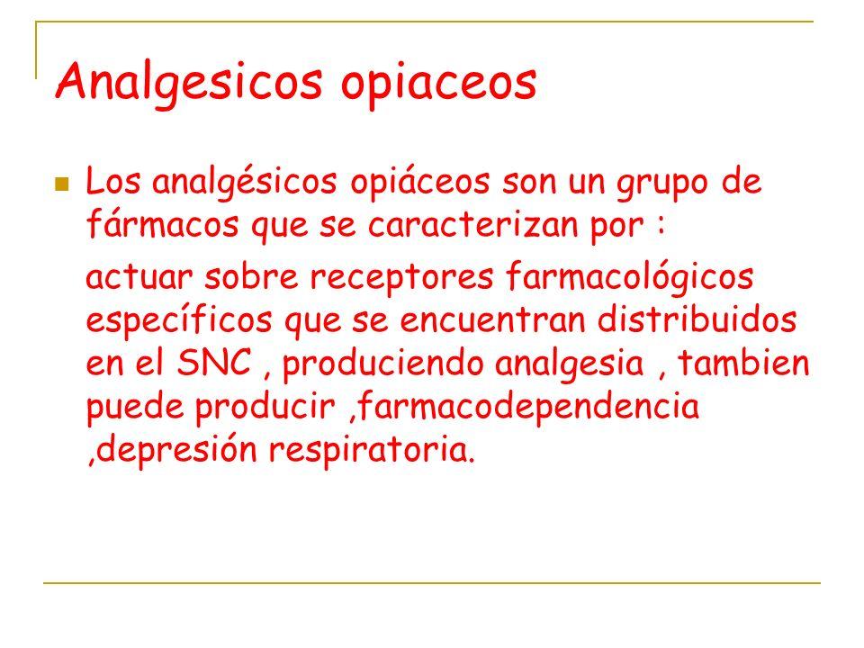 Analgesicos opiaceos Los analgésicos opiáceos son un grupo de fármacos que se caracterizan por :