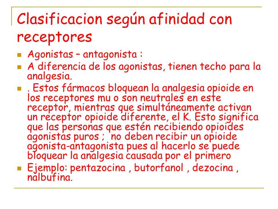 Clasificacion según afinidad con receptores