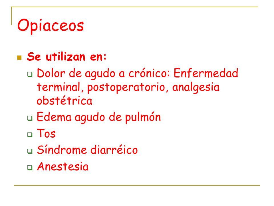 Opiaceos Se utilizan en: