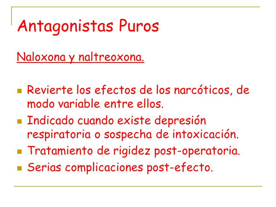 Antagonistas Puros Naloxona y naltreoxona.