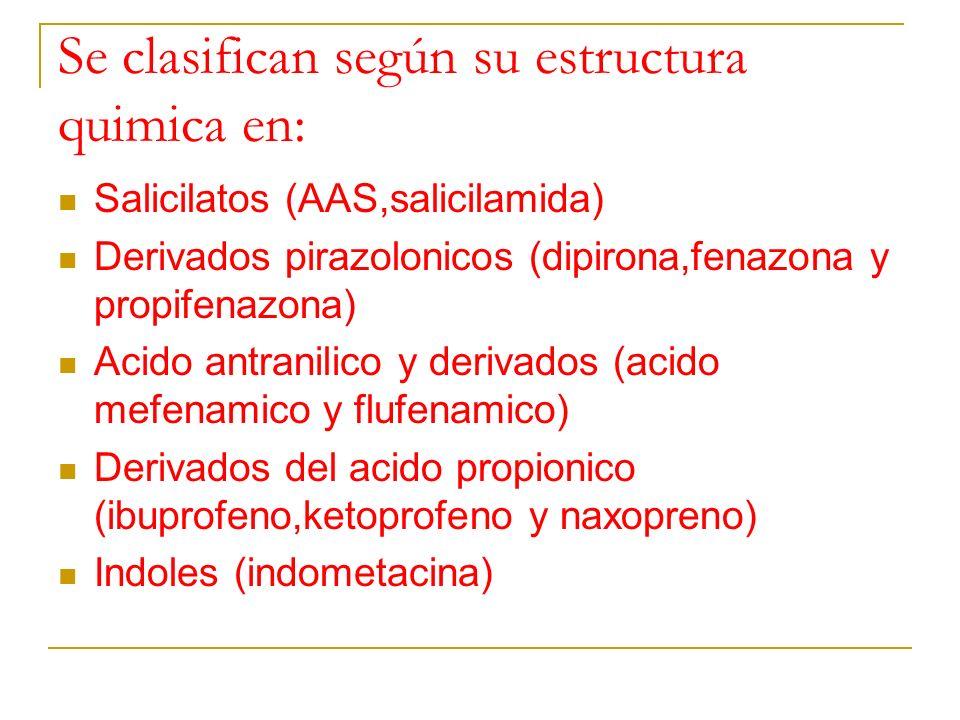 Se clasifican según su estructura quimica en: