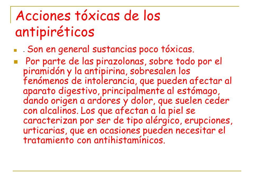 Acciones tóxicas de los antipiréticos
