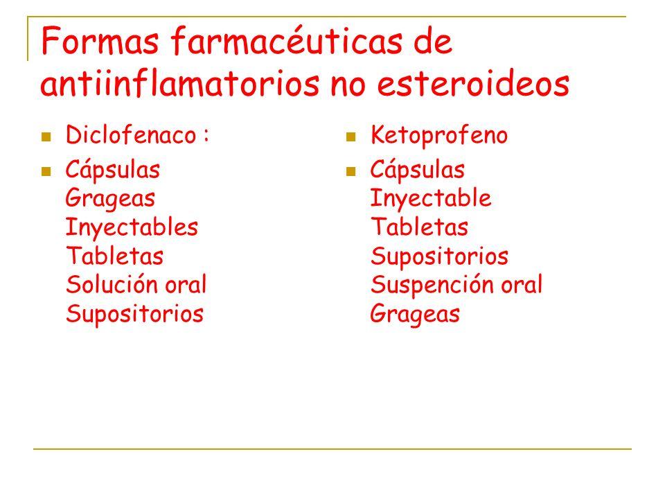 Formas farmacéuticas de antiinflamatorios no esteroideos