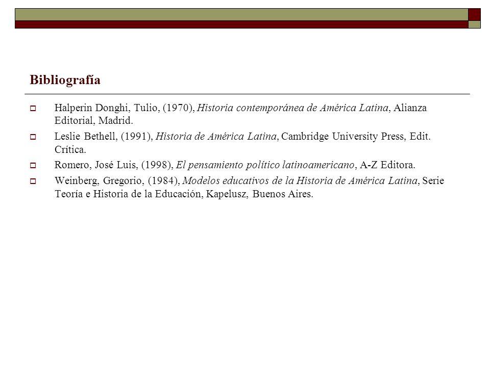 Bibliografía Halperin Donghi, Tulio, (1970), Historia contemporánea de América Latina, Alianza Editorial, Madrid.