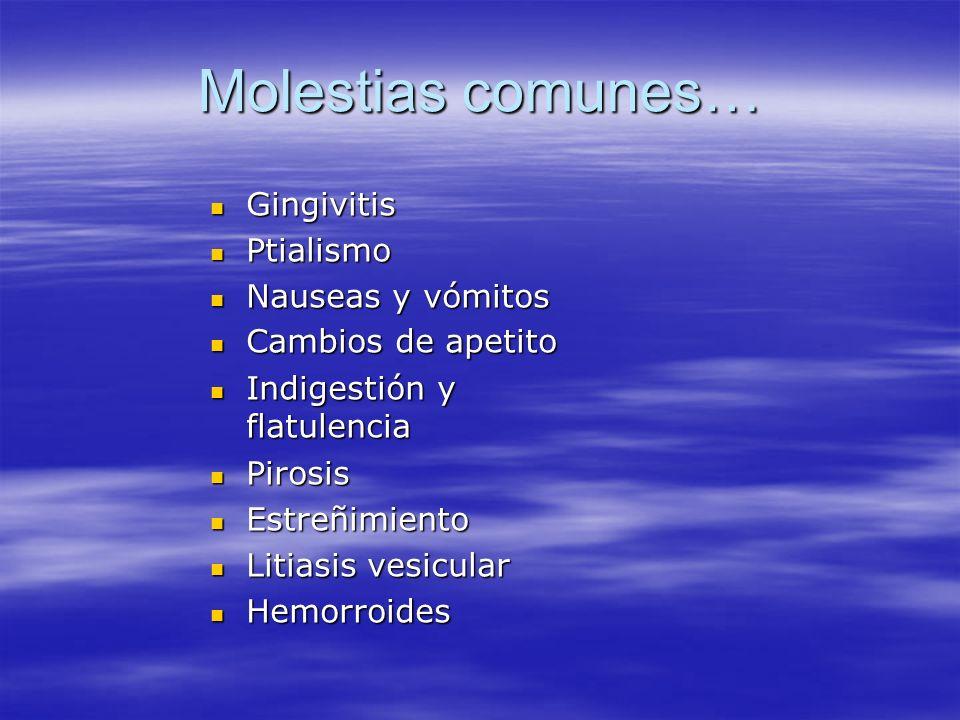 Molestias comunes… Gingivitis Ptialismo Nauseas y vómitos