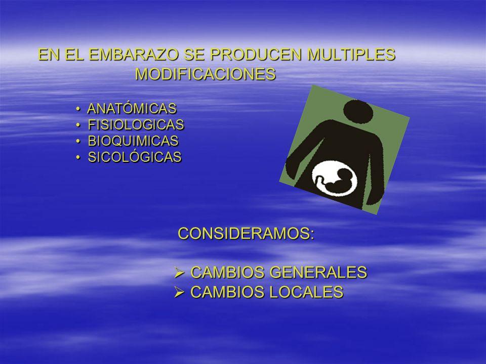 EN EL EMBARAZO SE PRODUCEN MULTIPLES MODIFICACIONES