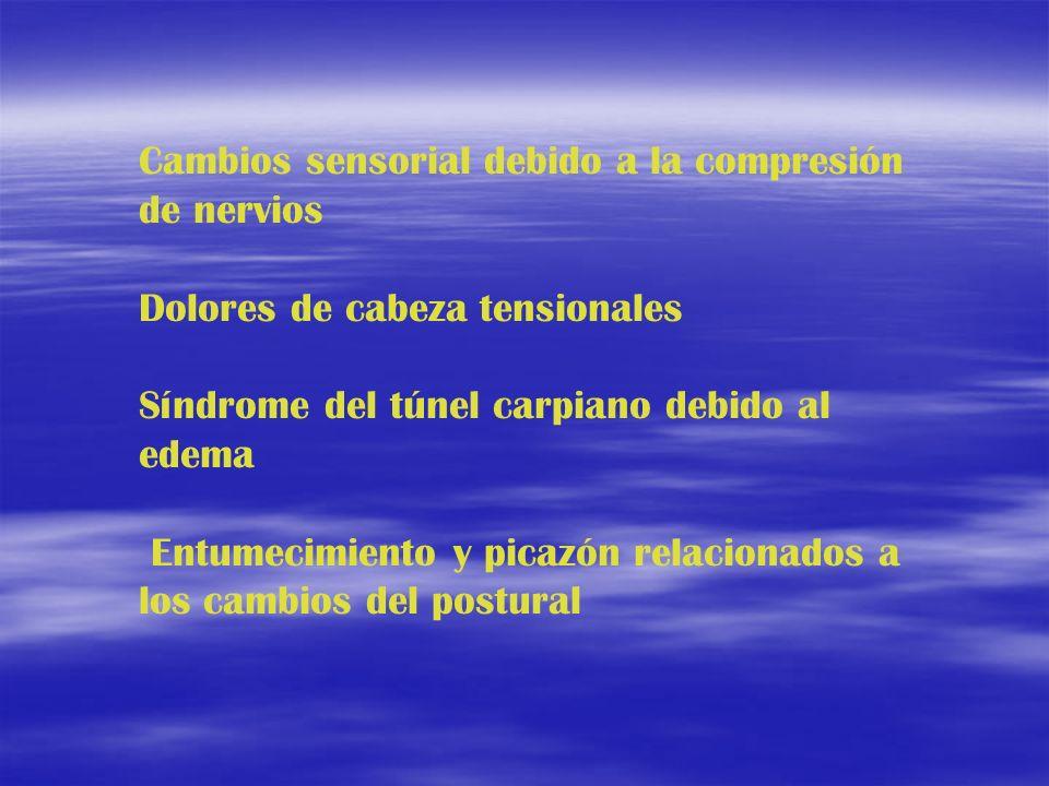 Cambios sensorial debido a la compresión de nervios