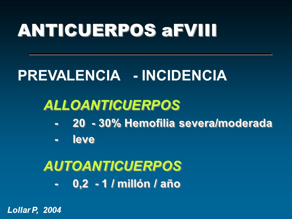ANTICUERPOS aFVIII PREVALENCIA - INCIDENCIA ALLOANTICUERPOS