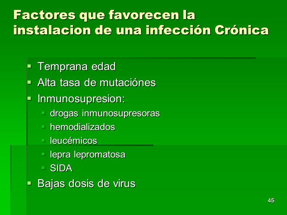 Factores que favorecen la instalacion de una infección Crónica