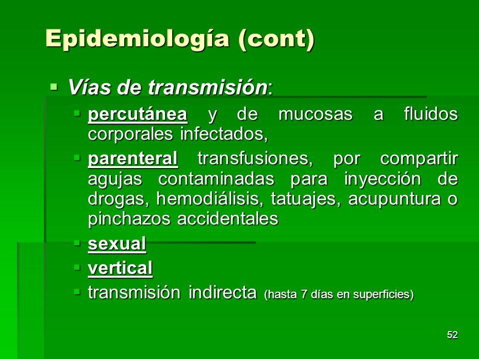 Epidemiología (cont) Vías de transmisión: