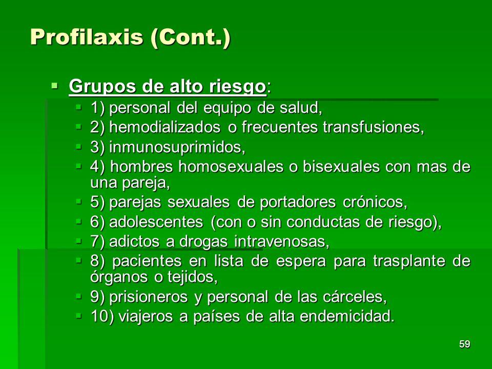 Profilaxis (Cont.) Grupos de alto riesgo: