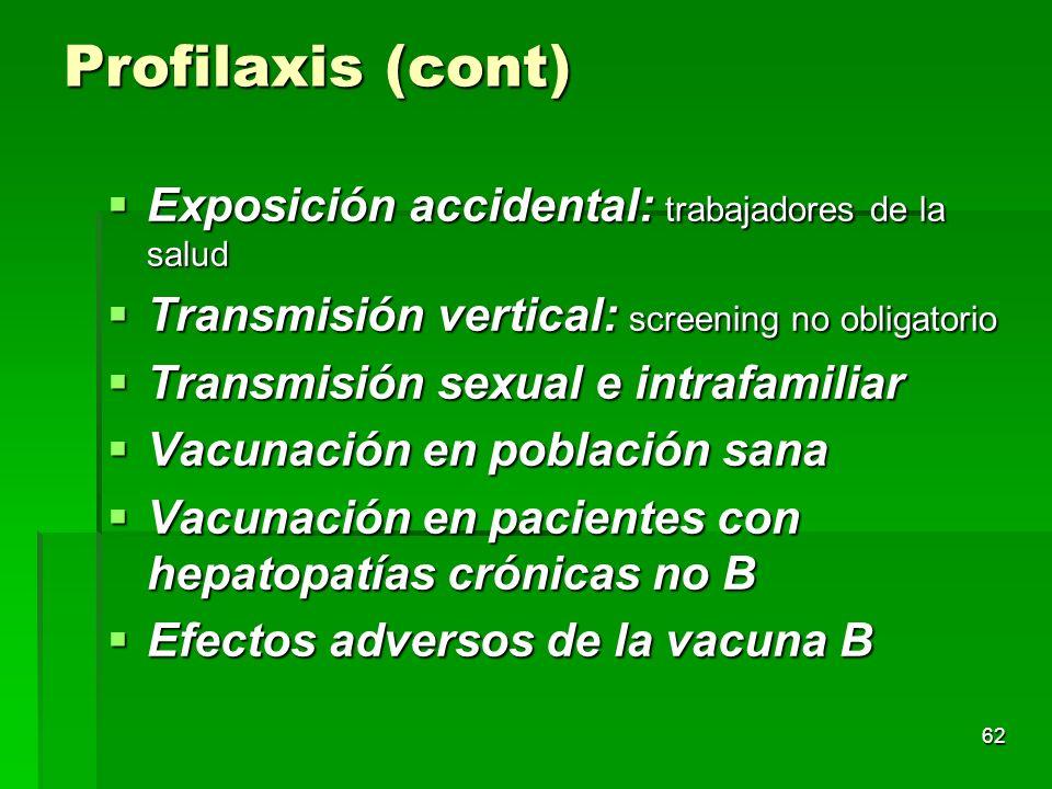 Profilaxis (cont) Exposición accidental: trabajadores de la salud
