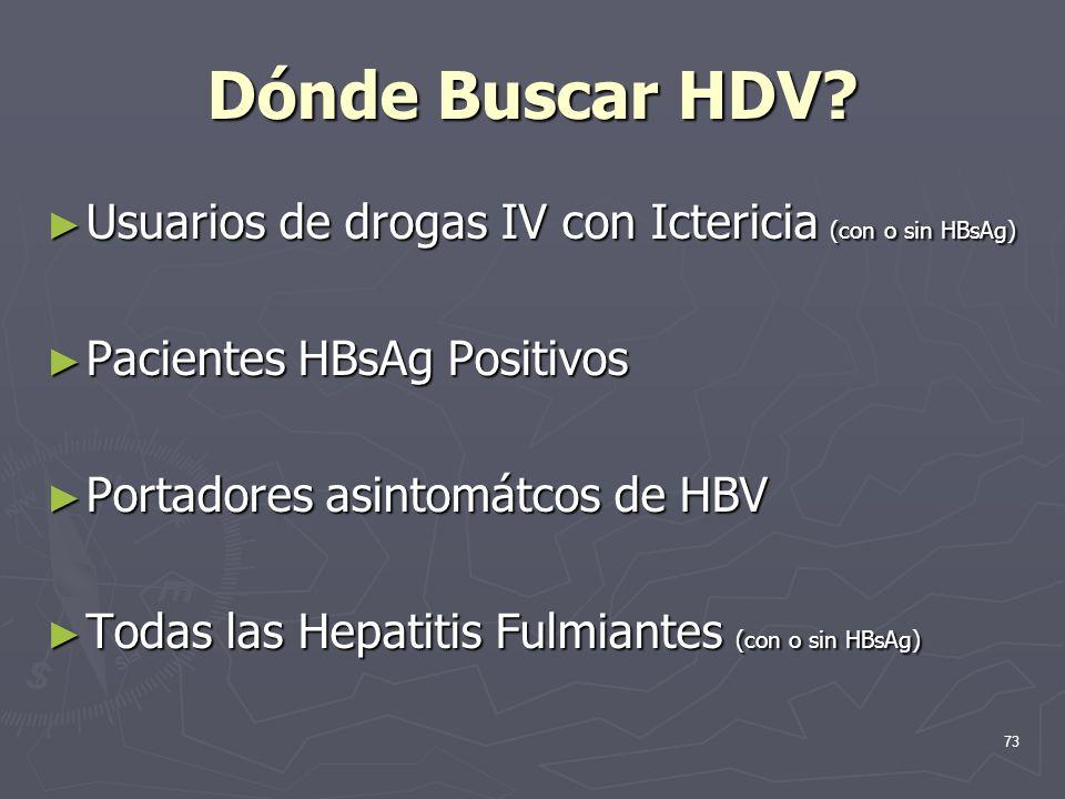 Dónde Buscar HDV Usuarios de drogas IV con Ictericia (con o sin HBsAg) Pacientes HBsAg Positivos.