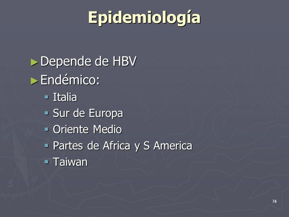 Epidemiología Depende de HBV Endémico: Italia Sur de Europa