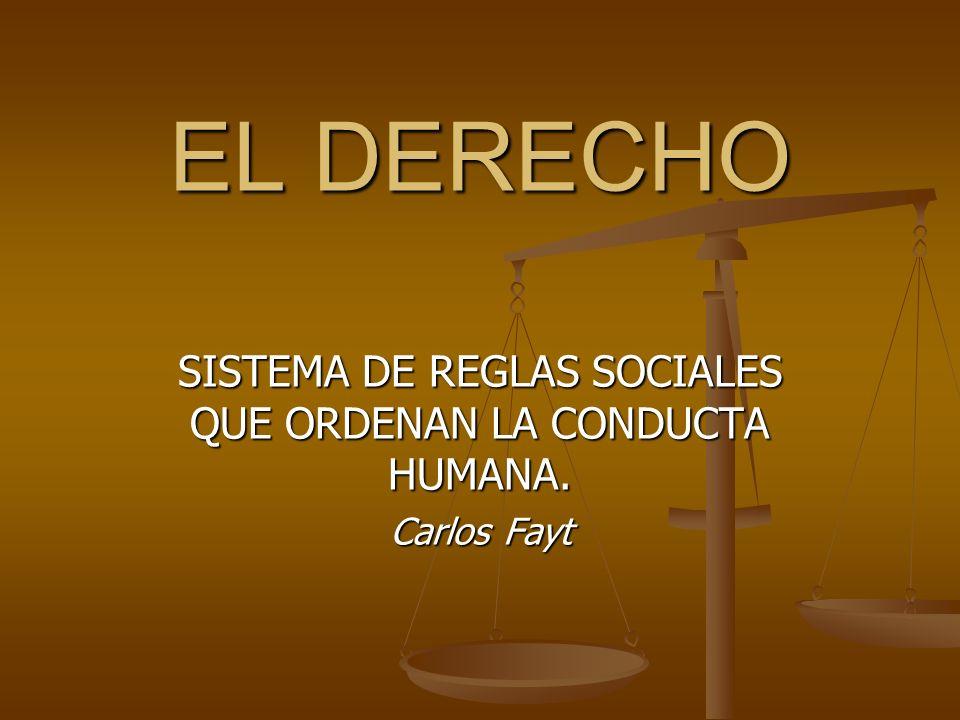 SISTEMA DE REGLAS SOCIALES QUE ORDENAN LA CONDUCTA HUMANA. Carlos Fayt