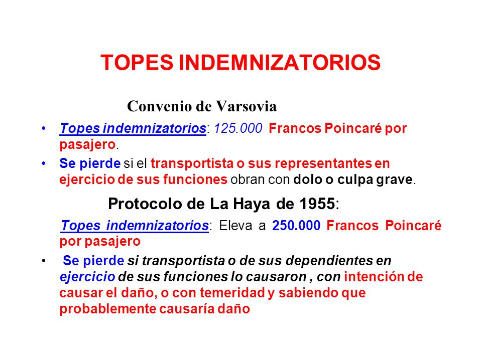 TOPES INDEMNIZATORIOS
