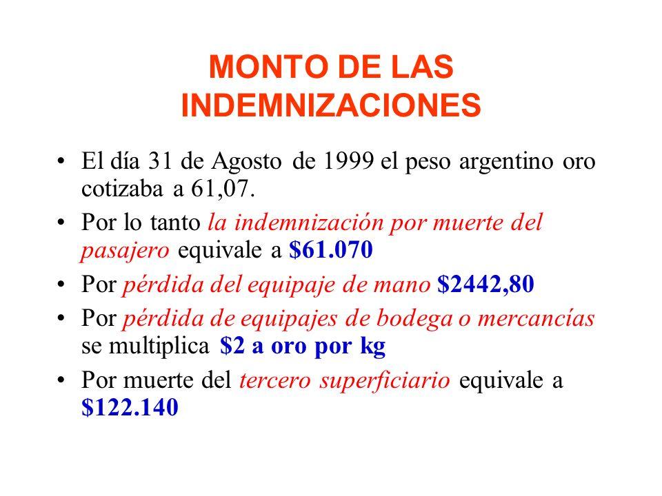 MONTO DE LAS INDEMNIZACIONES