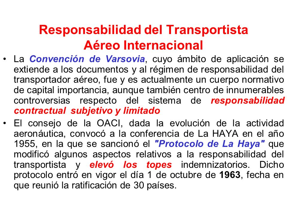 Responsabilidad del Transportista Aéreo Internacional