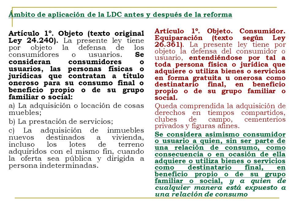 Ámbito de aplicación de la LDC antes y después de la reforma