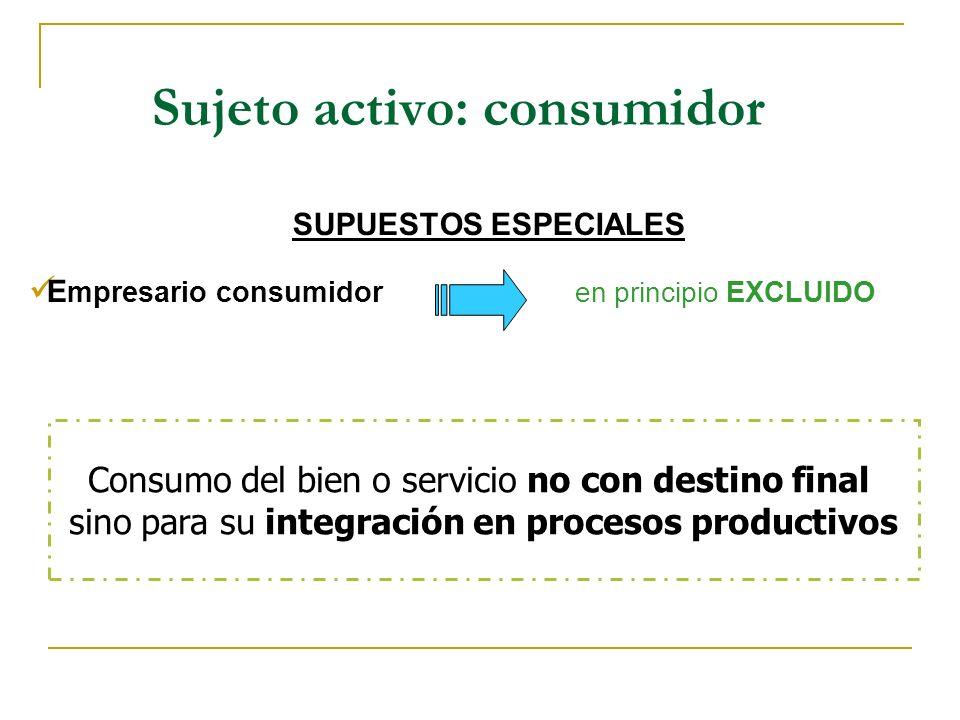 Sujeto activo: consumidor