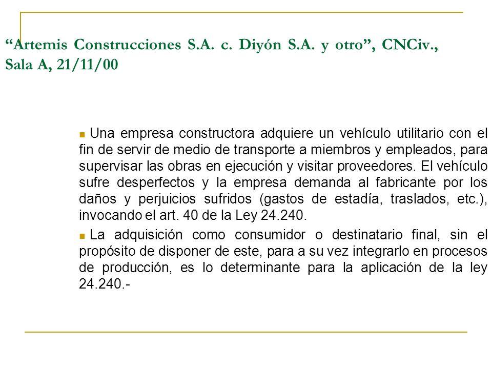 Artemis Construcciones S. A. c. Diyón S. A. y otro , CNCiv
