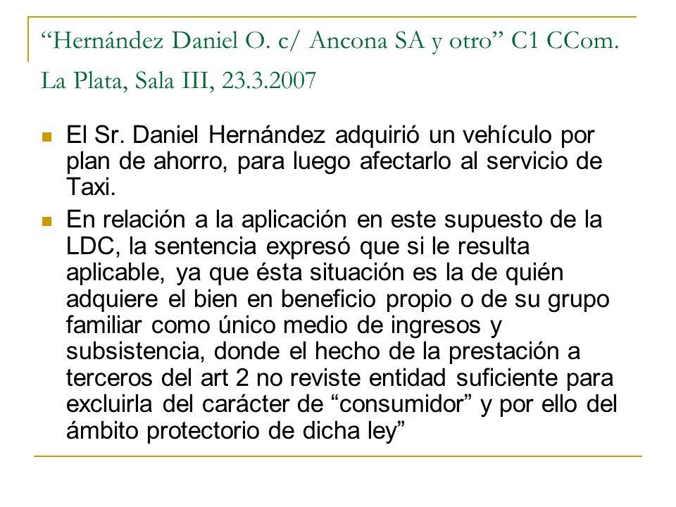 Hernández Daniel O. c/ Ancona SA y otro C1 CCom