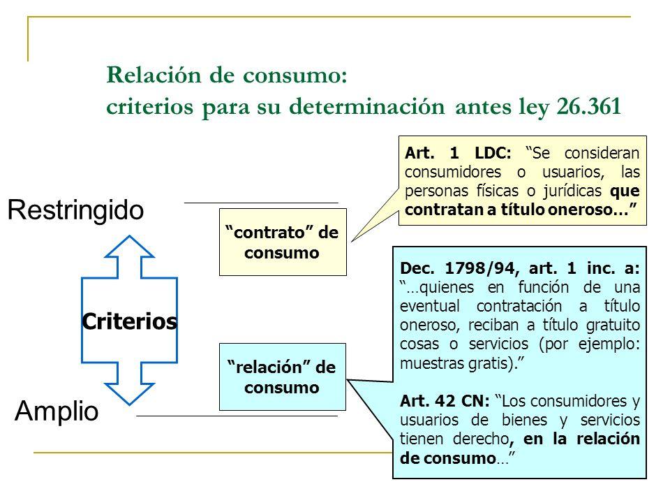 Relación de consumo: criterios para su determinación antes ley 26.361