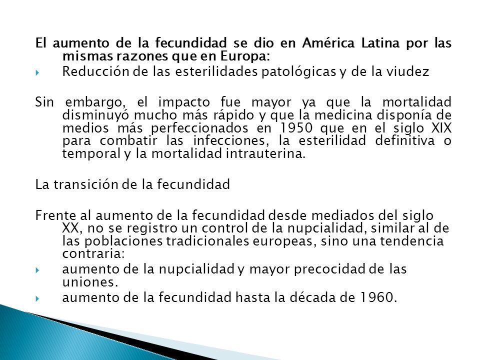 El aumento de la fecundidad se dio en América Latina por las mismas razones que en Europa: