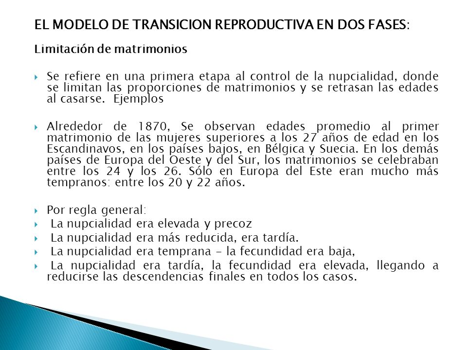 EL MODELO DE TRANSICION REPRODUCTIVA EN DOS FASES: