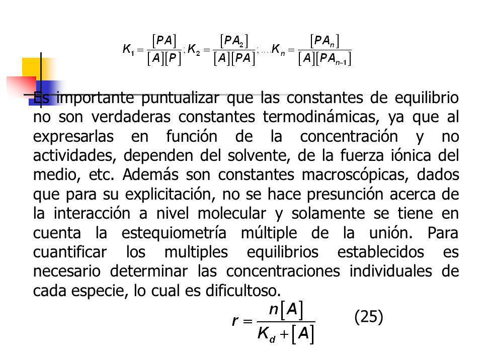Es importante puntualizar que las constantes de equilibrio no son verdaderas constantes termodinámicas, ya que al expresarlas en función de la concentración y no actividades, dependen del solvente, de la fuerza iónica del medio, etc. Además son constantes macroscópicas, dados que para su explicitación, no se hace presunción acerca de la interacción a nivel molecular y solamente se tiene en cuenta la estequiometría múltiple de la unión. Para cuantificar los multiples equilibrios establecidos es necesario determinar las concentraciones individuales de cada especie, lo cual es dificultoso.