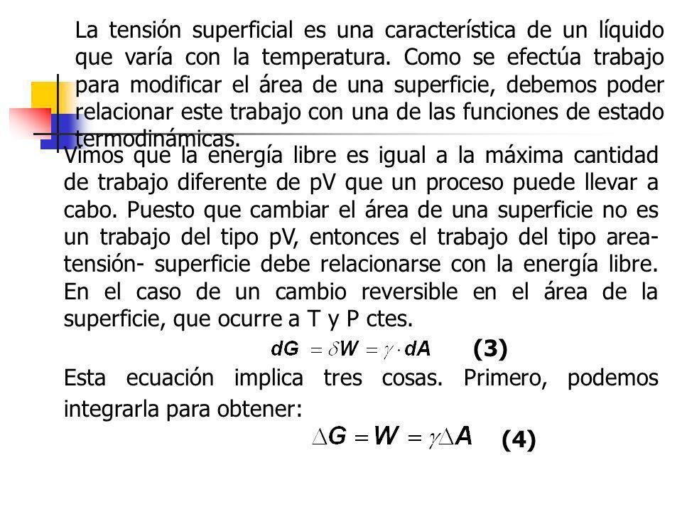 La tensión superficial es una característica de un líquido que varía con la temperatura. Como se efectúa trabajo para modificar el área de una superficie, debemos poder relacionar este trabajo con una de las funciones de estado termodinámicas.