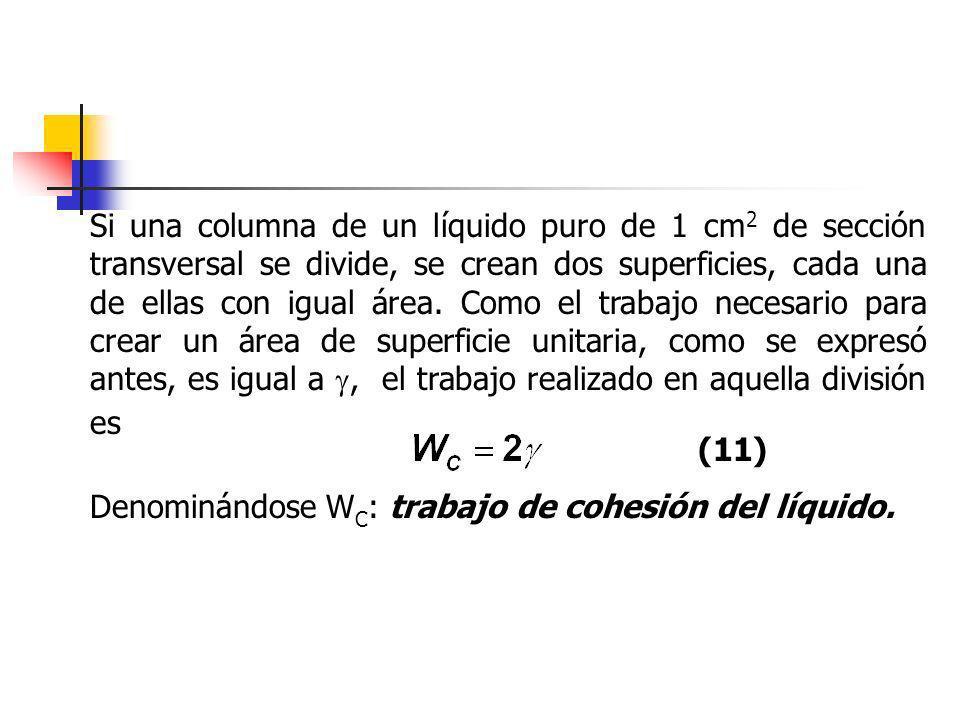 Si una columna de un líquido puro de 1 cm2 de sección transversal se divide, se crean dos superficies, cada una de ellas con igual área. Como el trabajo necesario para crear un área de superficie unitaria, como se expresó antes, es igual a , el trabajo realizado en aquella división es
