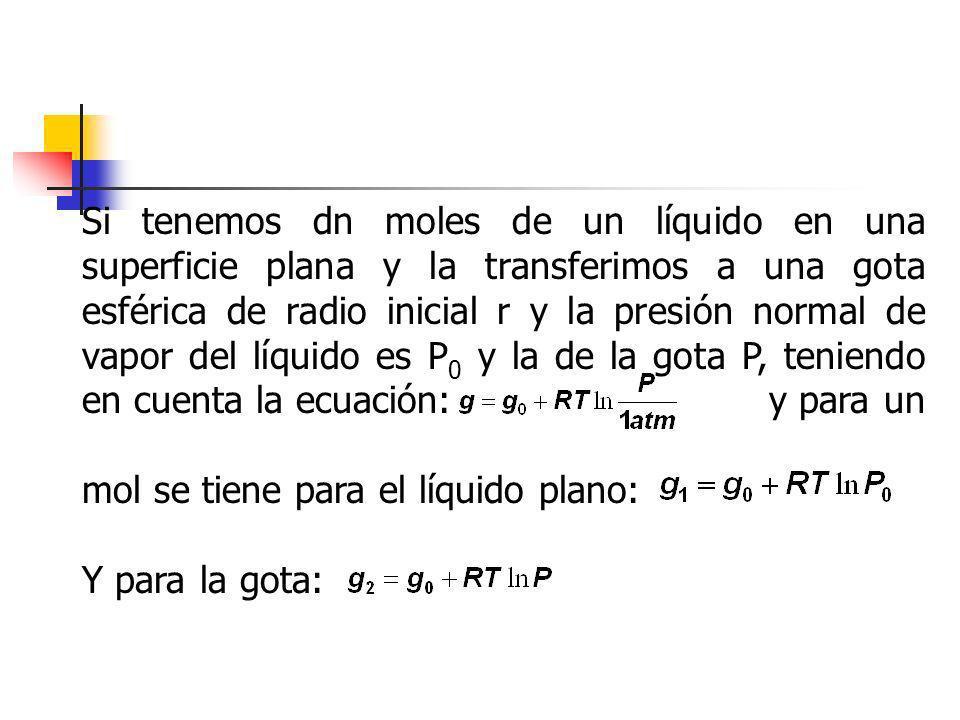 Si tenemos dn moles de un líquido en una superficie plana y la transferimos a una gota esférica de radio inicial r y la presión normal de vapor del líquido es P0 y la de la gota P, teniendo en cuenta la ecuación: y para un