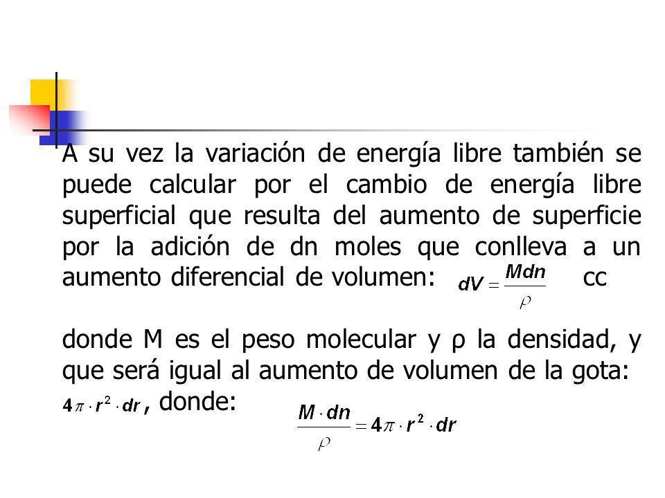 A su vez la variación de energía libre también se puede calcular por el cambio de energía libre superficial que resulta del aumento de superficie por la adición de dn moles que conlleva a un aumento diferencial de volumen: cc