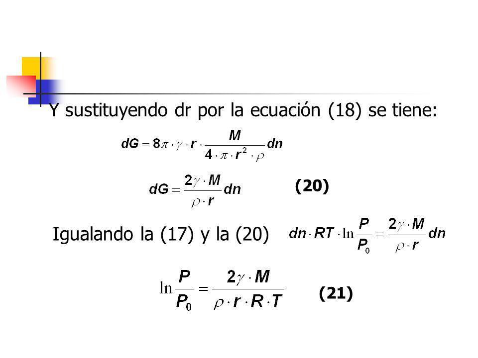 Y sustituyendo dr por la ecuación (18) se tiene: