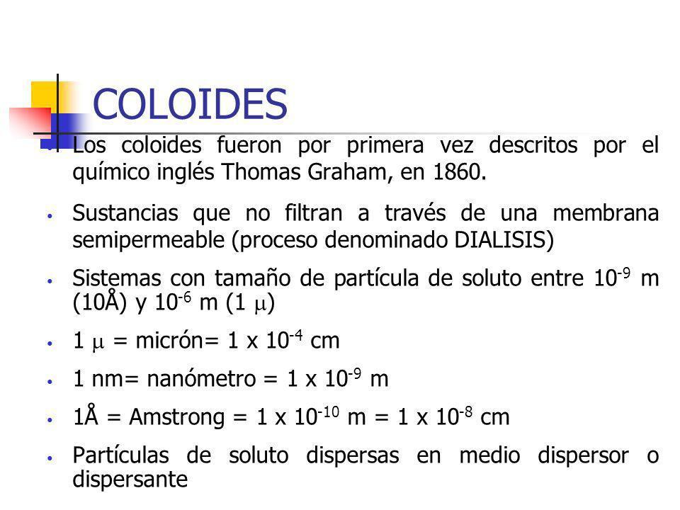 COLOIDES Los coloides fueron por primera vez descritos por el químico inglés Thomas Graham, en 1860.