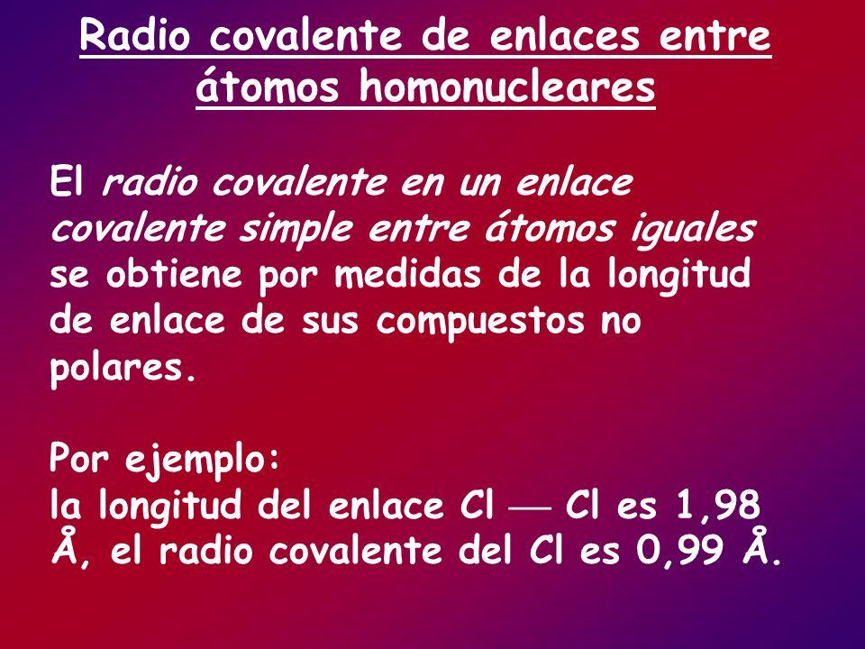 Radio covalente de enlaces entre átomos homonucleares