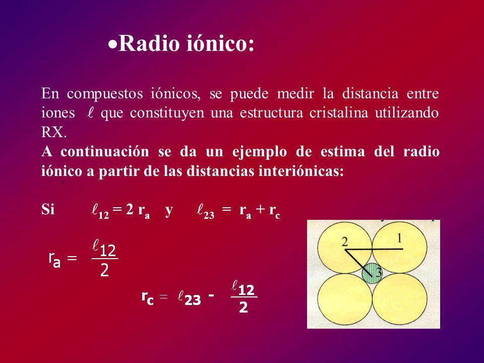 Radio iónico: En compuestos iónicos, se puede medir la distancia entre iones  que constituyen una estructura cristalina utilizando RX.