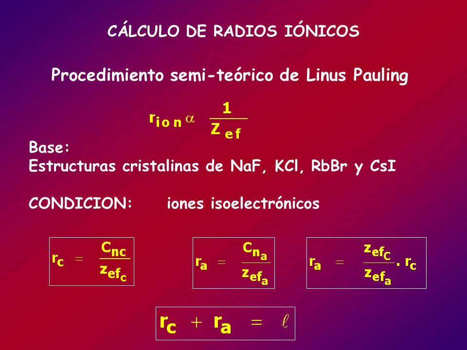 CÁLCULO DE RADIOS IÓNICOS